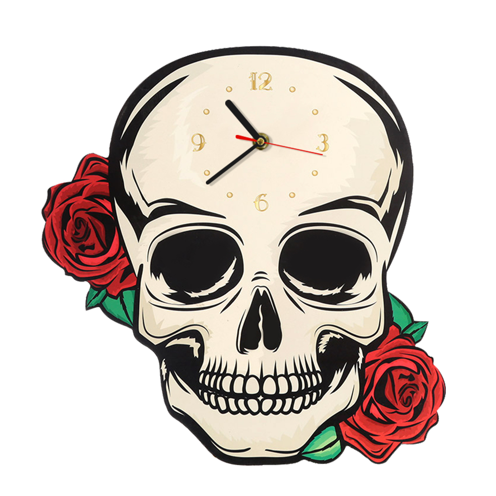 Decorative Fantasy Skull With Red Roses Shaped Wall Clock Skull Head Clock Halloween Hanging Horror Wall Art Modern Wall Watch