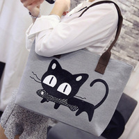 Canvas Shopping Bag Cute Cat Supermarket Trolley Bags Large Capacity Handbag Reusable Tote Bag Simple Bag