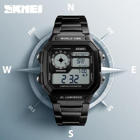 SKMEI Clock Mens Watches Top Brand Luxury Compass Countdown Digital Watches Sports Pedometer Calories Waterproof Men Wristwatch Pakistan