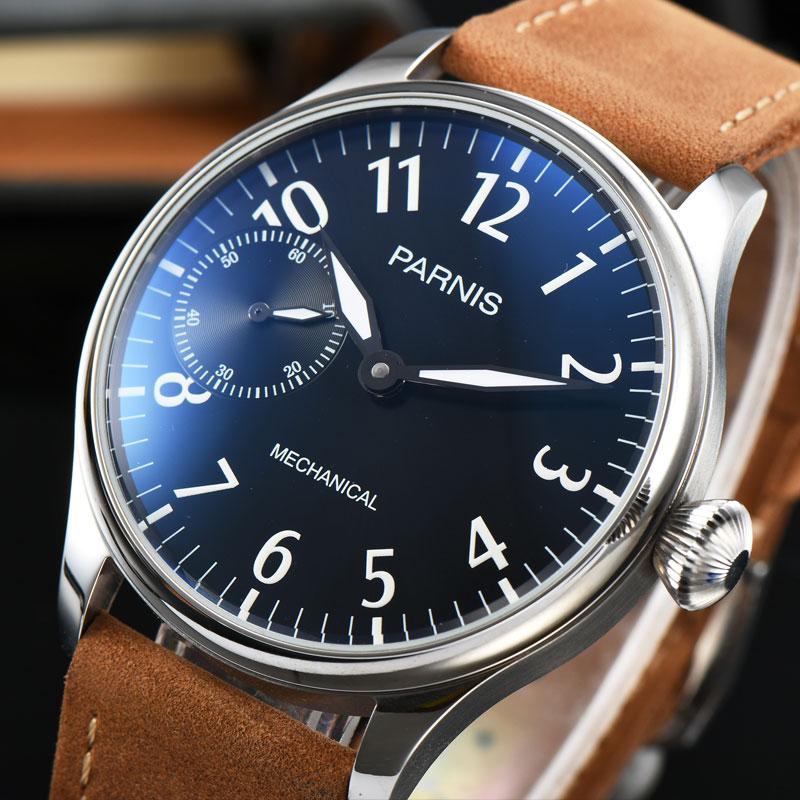 лучшая цена 44mm Parnis Black Dial Hand Winding 6497 Silver hands Pilot mechanical Men's Watch Leather strap