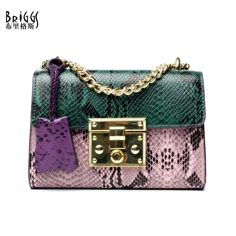 BRIGGS Brand Flap Women Genuine Leather Handbag Fashion Chains Shoulder Bag Vintage Serpentine Messenger Crossbody Bags women handbags fashion women messenger bags flap crossbody bag chains shoulder bag high quality pu leather handbag female 2018