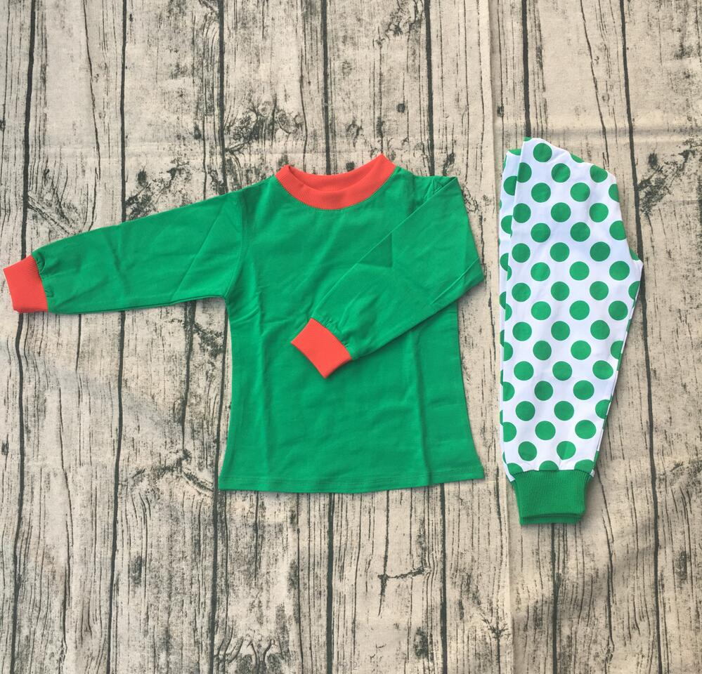 Christmas boutique long sleeve knit pajamas children baby girl green dot printing clothing kids cute elastic cotton pajamas suit