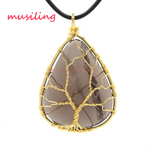 Life Tree Geometric Pendants Pendulum Natural Stone Ice of Obsidian Reiki Charms Wicca Witch Amulet Fashion Men Jewelry 10pcs