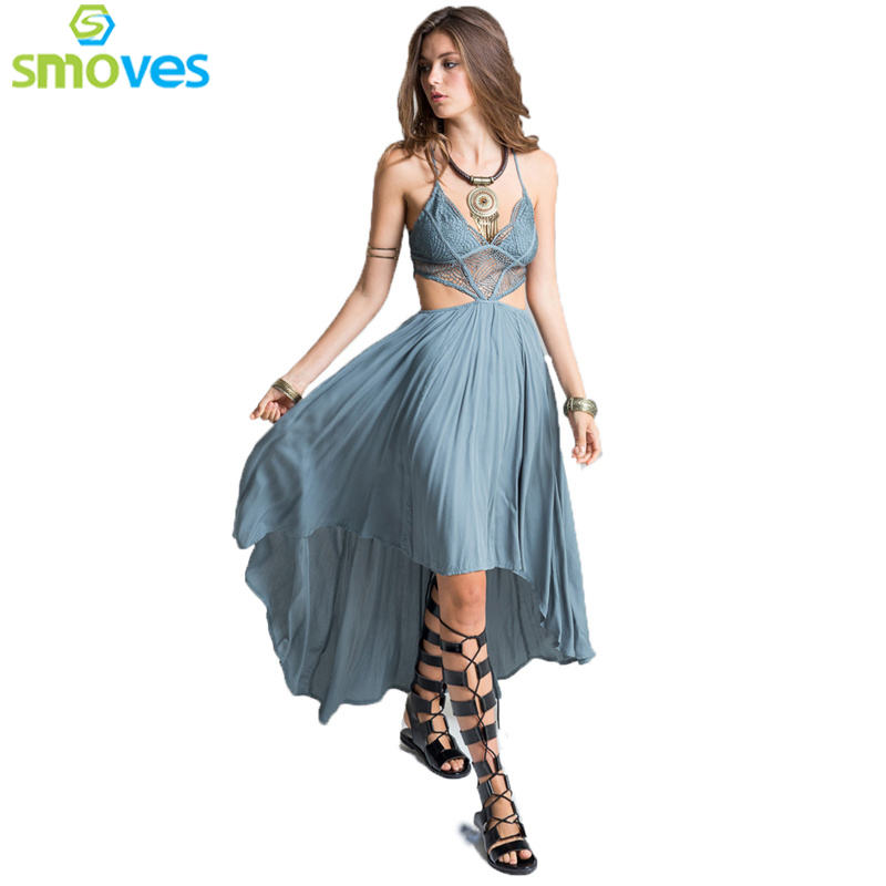 Buy Cheap Smoves Woman Deep V Neck Floral Lace Bodice Cut Out High Low Maxi Long Dress 2017 New Beach Poplin Bohemian Dresses GD302