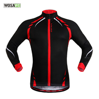 WOSAWE Cycling Jersey Winter Thermal Fleece Man Long Sleeve Windproof Sportswear Ciclismo Ropa MTB Bike Bicycle