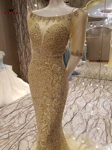Image 3 - カスタムメイド 100% リアル写真マーメイド半袖 Goled チュールスパンコールビーズスパンコールクリスタルセクシーな高級イブニングドレス BY25M