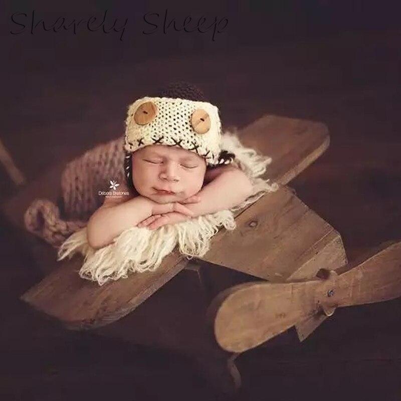 Деревянный самолет новорожденных Подставки для фотографий для маленьких мальчиков модель самолета фото для студийной съемки позирует дер