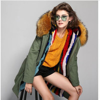 American Style 2017 Women Winter Fashion Plus Thick Long Real Rabbit Liner And Real Big Raccoon