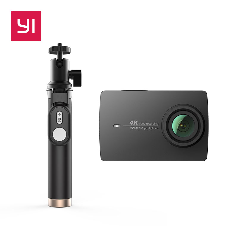 "YI 4K Action Camera Selfie Stick Bundle International Version Ambarella Sport Camera 2.19 ""LDC Screen WIFI Black White Pink"