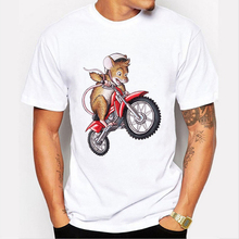 New Arrival Men's T-shirt Funny Mouse on the Motorcycle Print Tee Shirt For Men Creative Summer Tops T Shirt