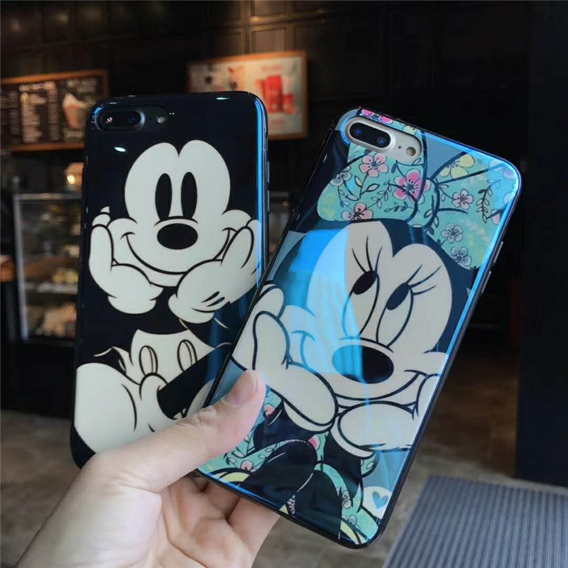 Blue Light Ray Soft Cases For iPhone X 6s Plus 7 8 Plus Capa Cute Mickey Minnie Mouse Lovely Big Smile Cartoon Phone Back Covers