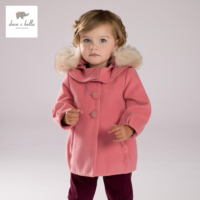 DB4134 dave bella  baby girls dark pink hooded coat