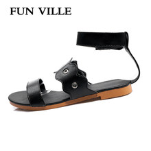 New Fashion Summer Shoes Women Sandals PU Leather Sweet Female Sandals Non-slip Open Toe Woman Flats Shoes Casual Sandals(China)
