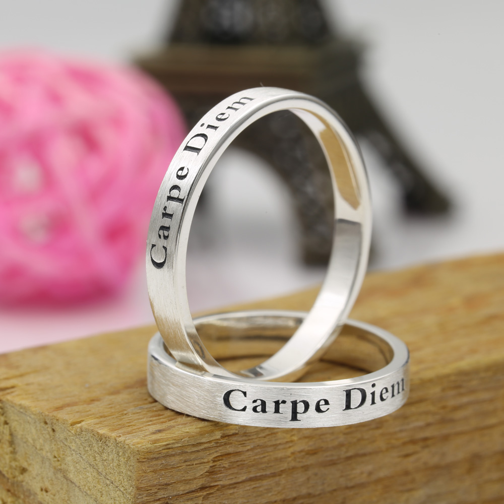 Wholesale 925 Sterling Silver Ring Set, Engraved Name Ring, Brush Ring, His and Her Band, Custom Letters Jewelry faux turquoise cow engraved jewelry set