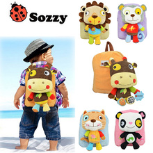 Sozzy Back To School Cartoon Animal Design Kids Backpack Stuffed Plush Animals Doll toys Children Cute Schoolbag