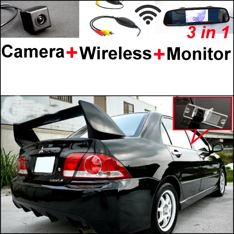 3 in1 Special Camera + Wireless Receiver + Mirror Monitor DIY Back Up Parking System For Mitsubishi Lancer Lioncel V3 Virage wireless pager system 433 92mhz wireless restaurant table buzzer with monitor and watch receiver 3 display 42 call button