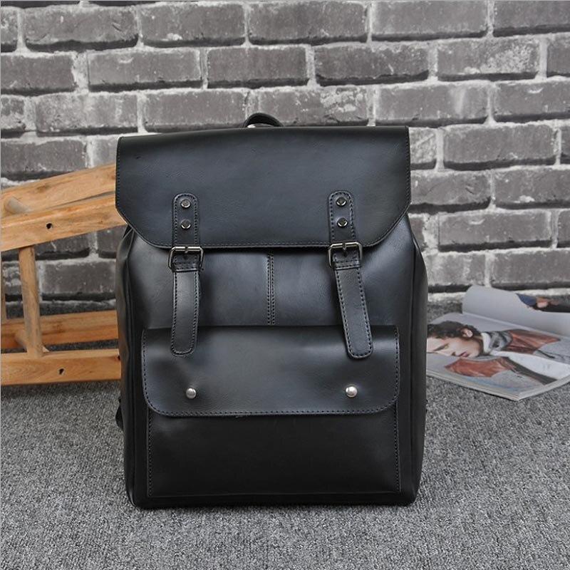 Big PU Leather Men Women Backpacks Male School Bag Black Backpack for Teenage Boy Girl Schoolbag Travel Bag sac a dos homme 2018