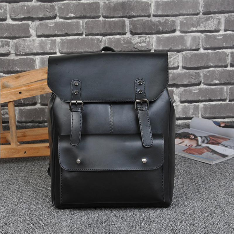 Vintage PU Leather Men Backpacks Male School <font><b>Bag</b></font> Black Backpack for Teenage Boys Schoolbag Travel <font><b>Bag</b></font> sac a dos homme 2017 new
