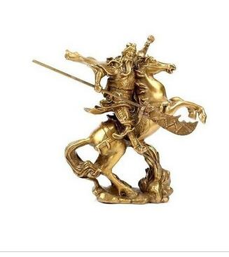collecting OLD copper Elaborate Old crafts Brass Chinese Ancient Hero Guan Gong Guan Yu ride on horse * bronze statue NR