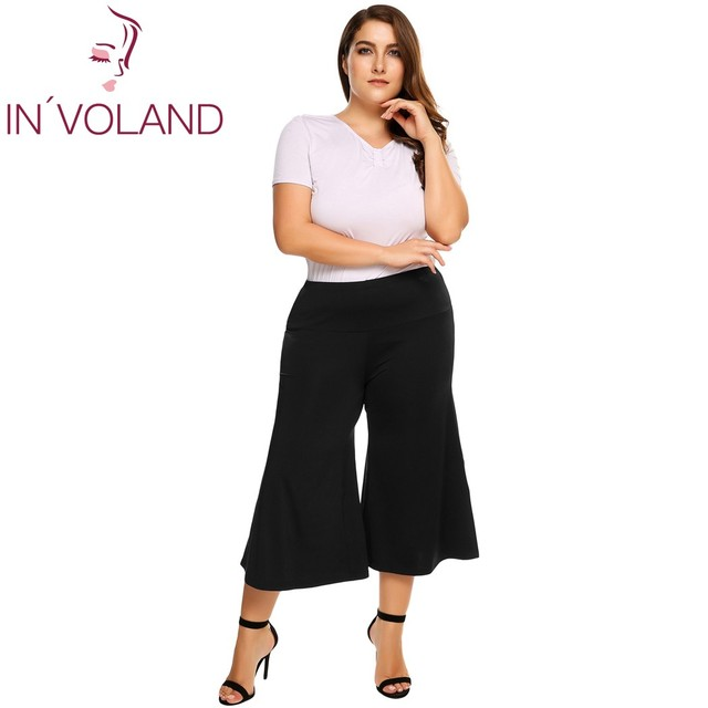 37a3ed602ce IN VOLAND Women Wide Leg Pants Summer Casual Plus Size High Waist Solid  Elastic Waist Capri Culottes Ladies Pants Oversized 5XL