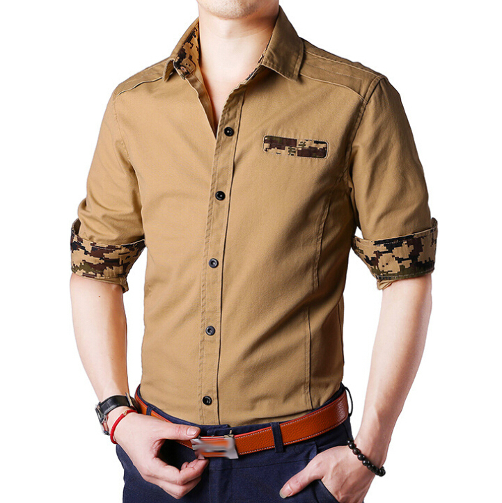 2015 new arrival special shoulder design military style for Mens military style long sleeve shirts