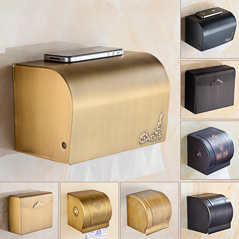 Free Shipping Bathroom Toilet Paper Box Wall Mounted Waterproof Black Antique Brass Roll Paper Tissue Holder black of toilet paper all copper toilet tissue box antique toilet paper basket american top hand cartons