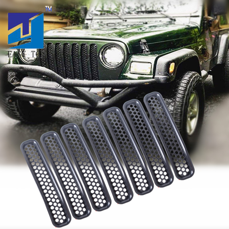 Creative 7pcs Black Front Grill Mesh Grille Insert Kit Grille Trim Cover For 97-06 Jeep Tj Non-Ironing