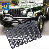 7pcs Black Front Grill Mesh Grille Insert Kit Grille Trim Cover For 97 06 Jeep TJ