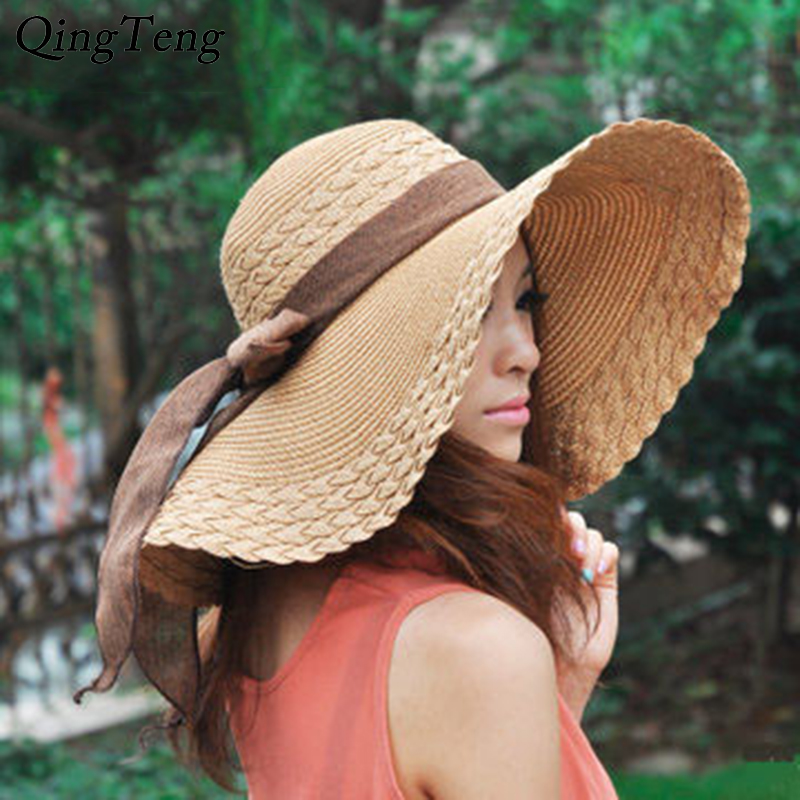 2020 New Wide Brim Summer Hats For Women Vacation Leisure Beach Hat Ribbon Bow Sun Visor Straw Hat Panama Woman's Sun Caps