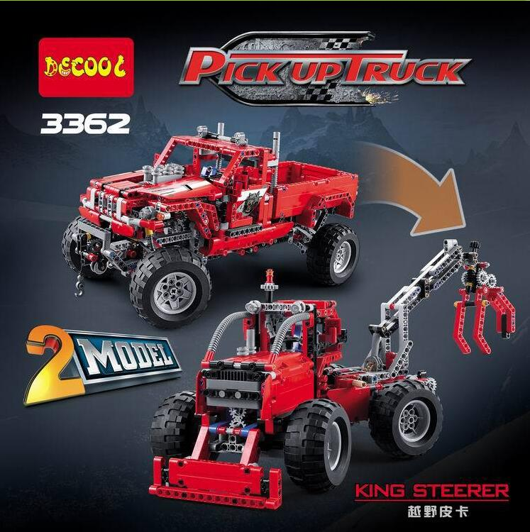 2017 New decool 3362 2 in 1 technic Pickup Truck 1053pcs Toy model building blocks bricks kids car lepin SUV Off-road boy gift in stock new lepin 21009 fxx 1 17 toy building blocks 632pcs technic racing sports car supercar model boy gift compatible 8156