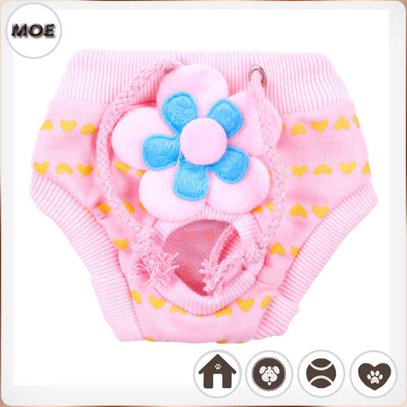 2017 The New Listing Cute Flower Design Pet Toilet Diapers Pants Pink Shorts For Dog Cat