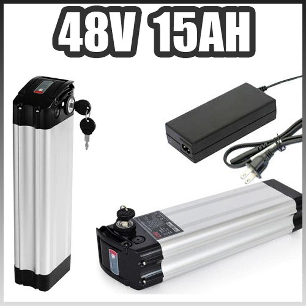 48 v argent poissons Au Lithium ion batterie 48 v 15AH électrique vélo batterie