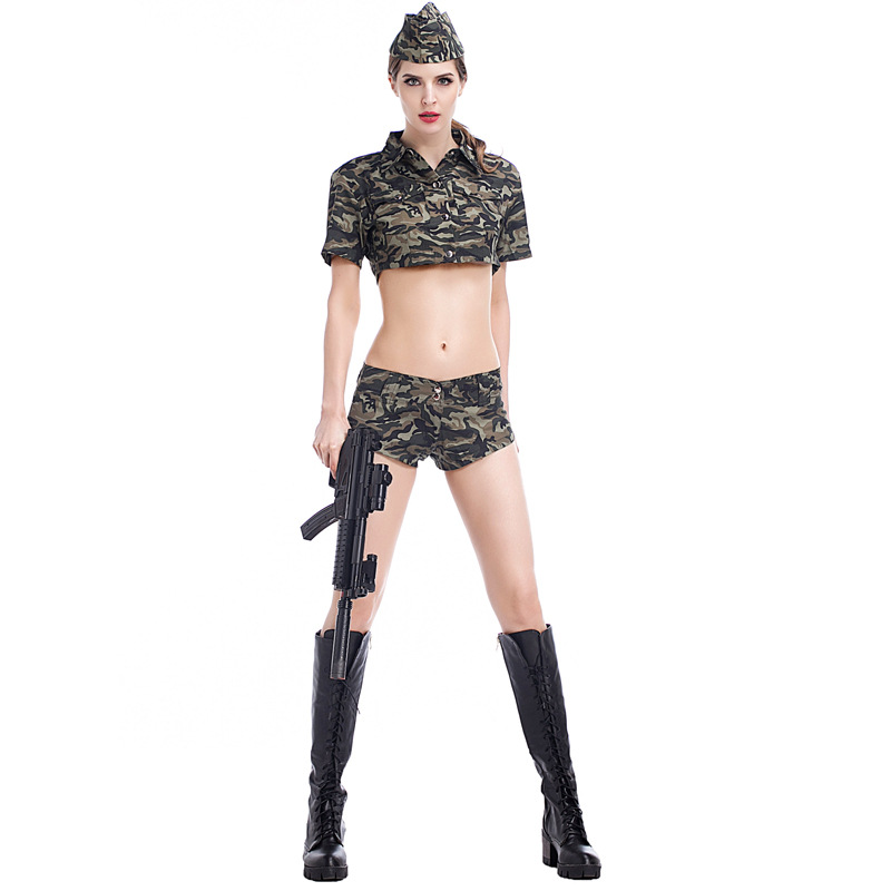 2018 New Sexy And Cool Army Green Military Outfits Suits Halloween Cosplay Female Soldiers Colthes For Adult With Cap