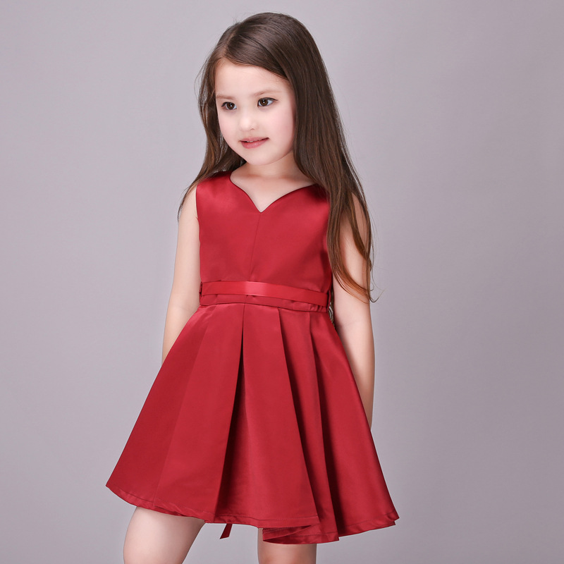 Image 4 - Girls Wedding Dress 2017 Sleeveless Fashion Bridesmaid Child Baby Red Dress Girl  2  10 11 12 13 Years Olds Spodnica-in Dresses from Mother & Kids on AliExpress