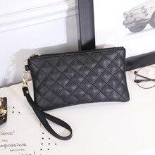 Женские кошельки из искусственной кожи, сумка в ромбовидную клетку, женский клатч на молнии, кошелек для монет, дамский браслет, переносная черная сумочка для вечеринок