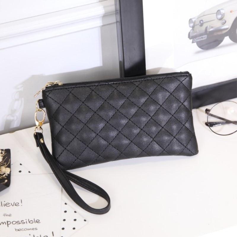 Women Wallets PU Leather Bag Diamond Lattice Female Zipper Clutch Coin Purse Ladies Wristlet Portable Black Handbag For Parties