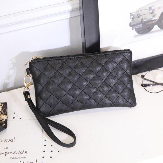 326c5e7ff Women Wallets PU Leather Bag Diamond Lattice Female Zipper Clutch Coin Purse  Ladies Wristlet Portable Black