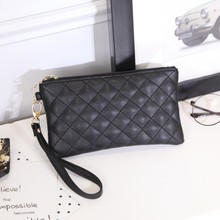 Women Wallets PU Leather Bag Diamond Lattice Female Zipper Clutch