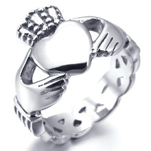 Women Mens Stainless Steel Knot Irish Claddagh Heart Crown Womens Love Ring Silver Free Shipping