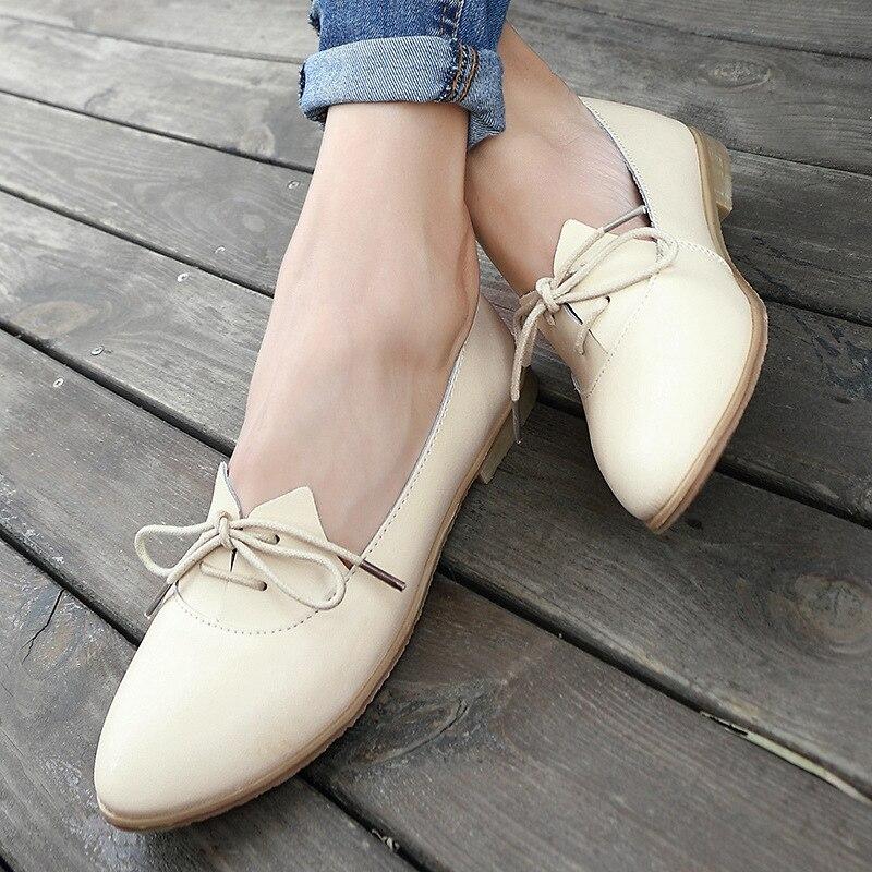 Tamaño Cuero Cuadrado Mocasines Las Mujeres 40 Puntiaguda Zapatos Oxford Para Auténtico Primavera blanco Tacón Ocasionales 2018 Beige Encaje 35 gxwdqS6g