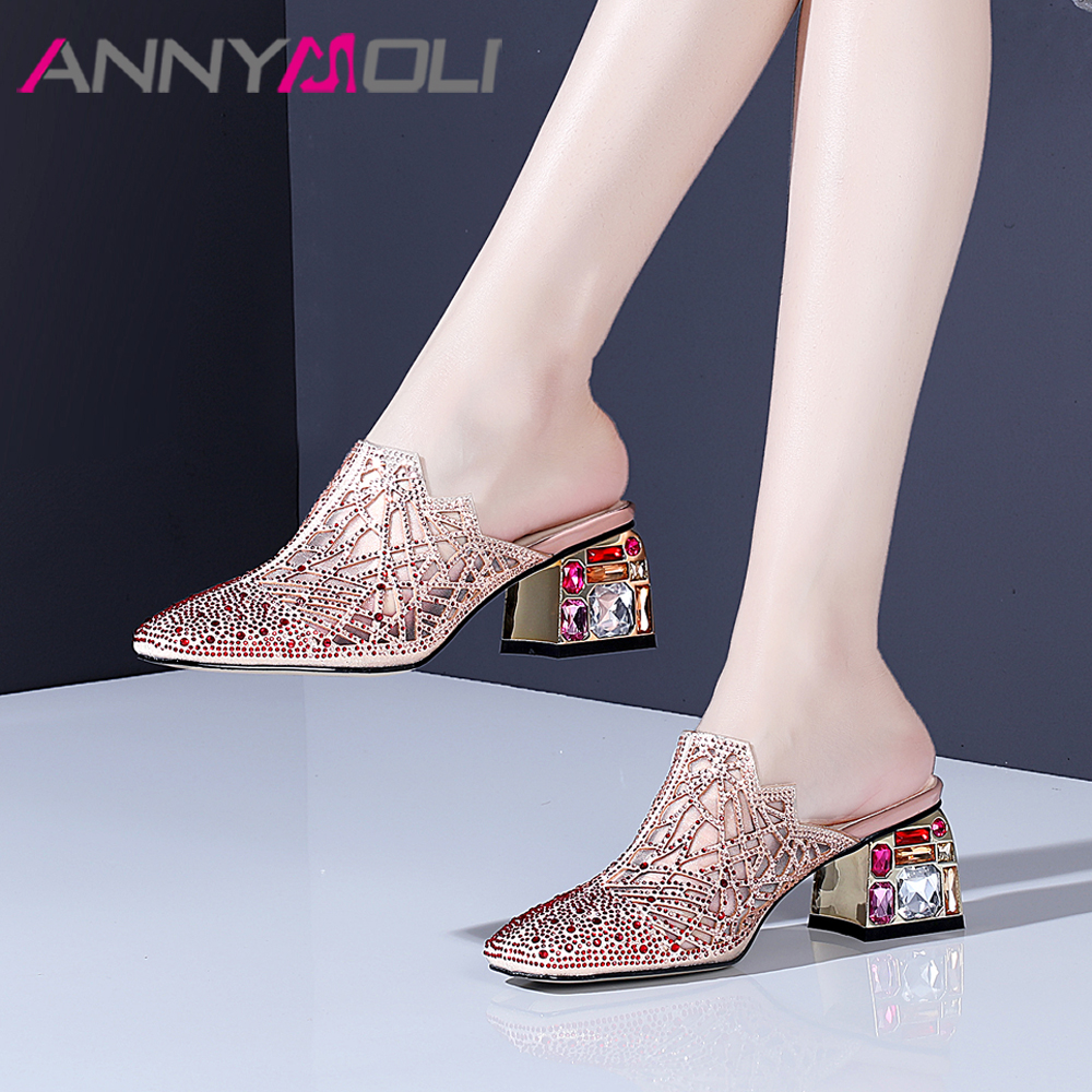 ANNYMOLI Summer Mules Shoes Women Slippers Luxury Block High Heels Shoes Rhinestone Square Toe Party Sandals
