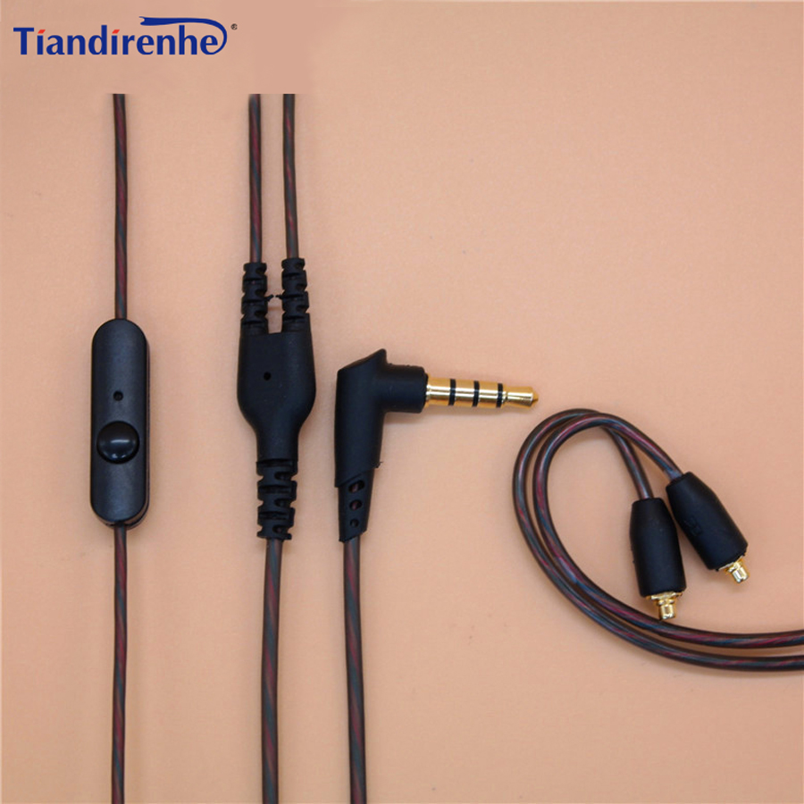 Tiandirenhe DIY SE215 Earphone TPE MMCX Cable for Shure SE535 SE846 UE900 14 Cores Replacement Audio Cord Headset with MIC 2016 senfer ue custom made around ear earphone hifi monitor earphone bass headset with mmcx interface cable as se215 ue900 se846
