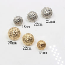 10pcs/lot Lion metal button Gold silver clothing sweater coat decoration shirt buttons accessories DIY JS-0096(China)