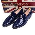 Primavera/Otoño Hombres Visten Zapatos de Punta estrecha Moda Clásica Suave Oxford Zapatos Para Hombres de Negocios Mocasines de Charol Plana negro