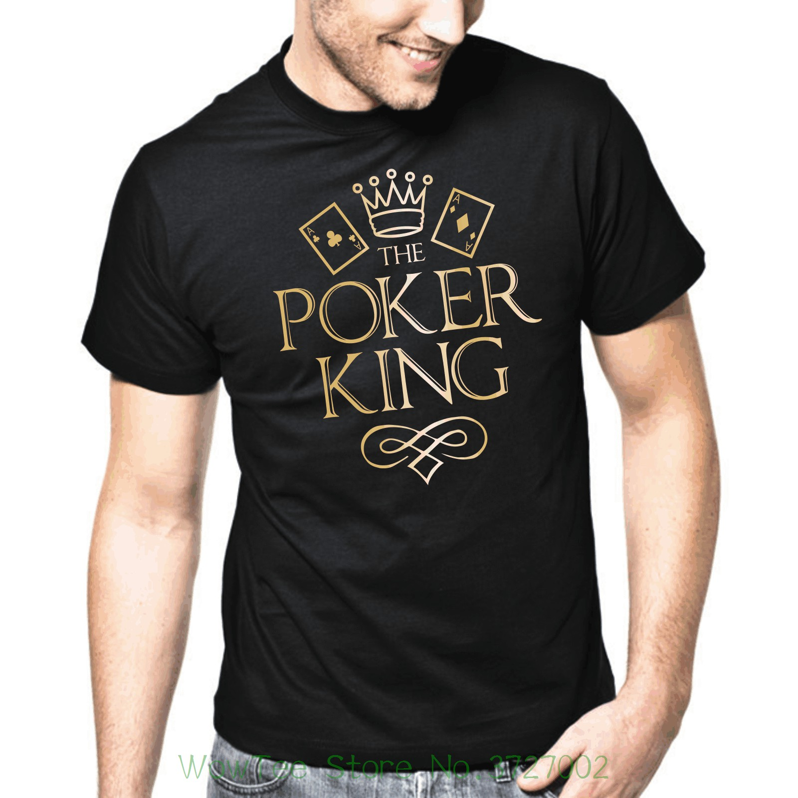 The Poker King  Texas Hold Em  Flush  Gold Metallic  S - Xxl T-shirt New 2018 Fashion Me ...