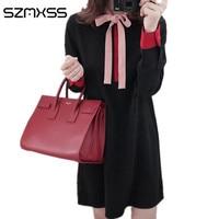 2017 nueva primavera mujeres Vestido de manga larga o-cuello del estilo de Corea vestido de gran tamaño negro señora elegante vestidos 4XL