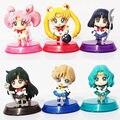 Sailor Moon 6pcs/lot Mars Jupiter Venus Mercury Q Version PVC Action Figure Model Toys Dolls Free Shipping