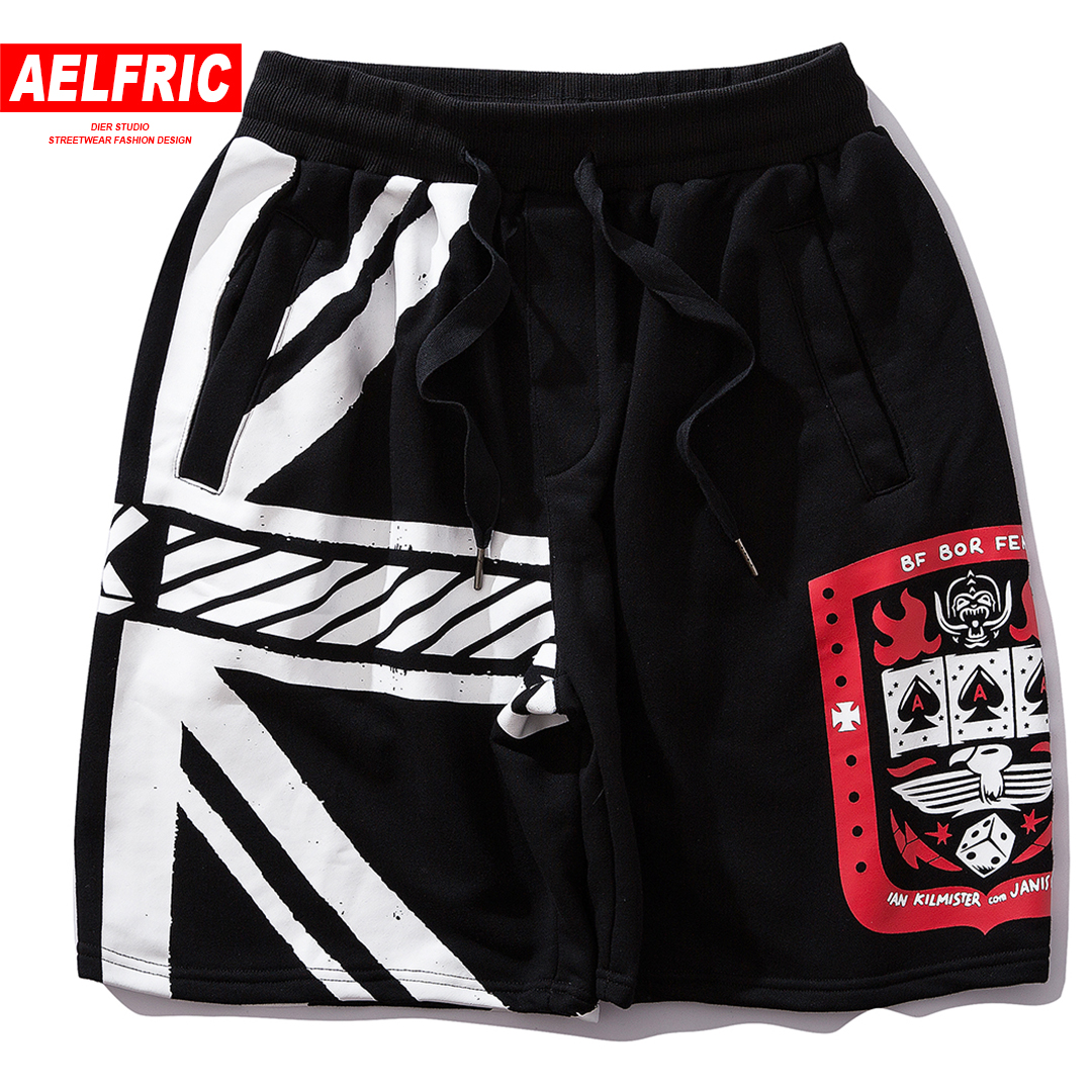 AELFRIC Fashion Shorts Striped Jogger Streetwear Hip-Hop Printed-Design Summer Letter