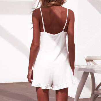 Summer Playsuits Women Jumpsuit Short Cotton Linen Casual Ruffles  strap boho Sexy Rompers Overalls Playsuit Mujer 5