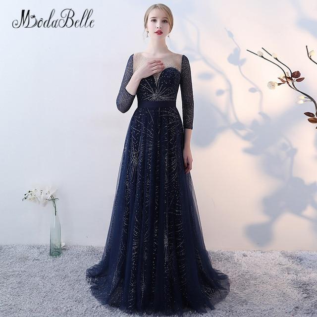 Modabelle Tulle Dark Blue Prom Dress With Stars Sequins Women Bling